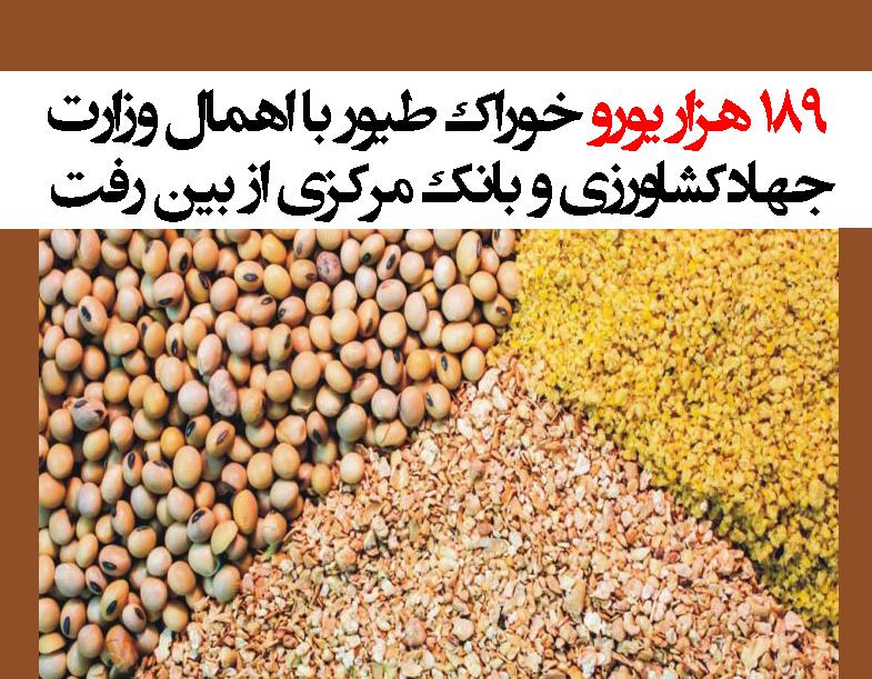 189 هزار یورو خوراک طیور با اهمال وزارت جهادکشاورزی و بانکمرکزیازبینرفت+سند