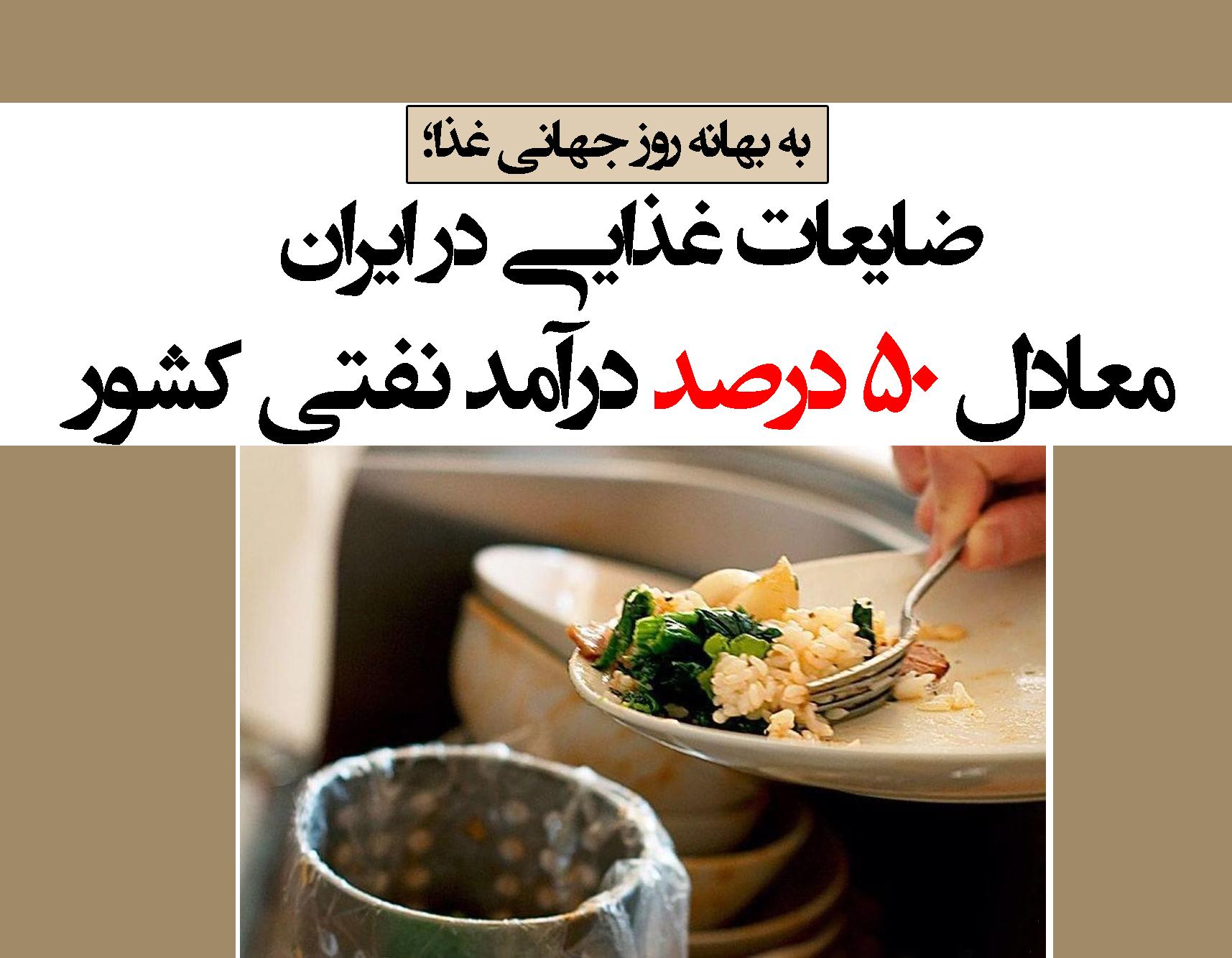 ضایعات غذایی در ایران معادل ۵۰ درصد درآمد نفتی کشور