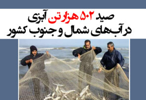 صید ۵۰۲ هزار تن آبزی در آبهای شمال و جنوب کشور